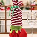 YCQ ワインボトルカバー クリスマス 靴下 ストライプ パーティー デコレーション バッグ キッズ キャンディ きれいめ オーナメント 飾り物 (レッド)