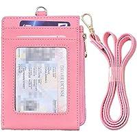 Beurlike Bifold ID Badge Holder Wallet Neck Lanyard Genuine Leather ID Card Case