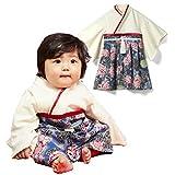 Sweet Mommy 袴 ロンパース ベビー 着物 カバーオール 日本製和柄ちりめん オーガニックコットン身頃 ネイビー 90