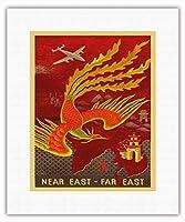 近東 - 極東 - ビンテージな航空会社のポスター によって作成された ルシアン・ブーシェ c.1946 - キャンバスアート - 28cm x 36cm キャンバスアート(ロール)