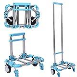 キャリーカート 折りたたみ 超コンパクト 軽量 耐荷重30kg (blue)