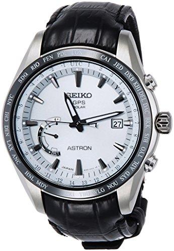 [アストロン]ASTRON 腕時計 ASTRON GPSソーラー電波 ワールドタイム機能 チタンモデル ホワイト文字盤 クロコダイル革バンド SBXB093 メンズ