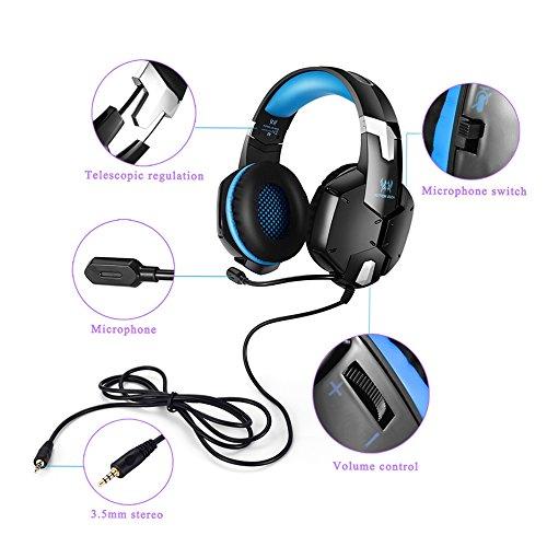 ゲーミングヘッドセット ヘッドホン 3.5mm LESHP 密閉型 高集音性マイク付 折りたたみ式 重低音 騒音隔離 マイク位置360度調整可能 ヘッドアーム伸縮可能 iPhone スマートホン /PS4/PC/ラップトップ/タブレット/スマホなど対応 ブルー