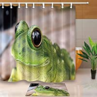 GooEoo 動物の装飾、大きな目でカエル、71X71in防腐性のポリエステルファブリックシャワーカーテンスーツ15.7x23.6inフランネルノンスリップフロアのドアマットバスラグ