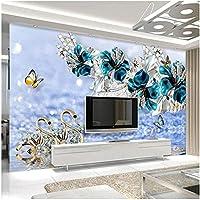 Xbwy 3D高級白鳥青い花水波ジュエリー写真壁の壁画リビングルームテレビの背景-120X100Cm