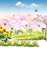 Cartoon世界House花バタフライ写真の背景幕写真小道具Studio背景5x 7ft