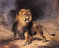 手描き-キャンバスの油絵 - William John Huggins A Lion 動物 芸術 作品 洋画 野獣 ホームデコレーション -サイズ14