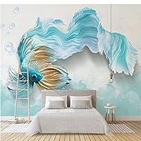 Wuyyii カスタム3D壁画壁紙現代3D抽象青孔雀テレビの背景壁画リビングルーム寝室防水壁画壁紙-200X140Cm