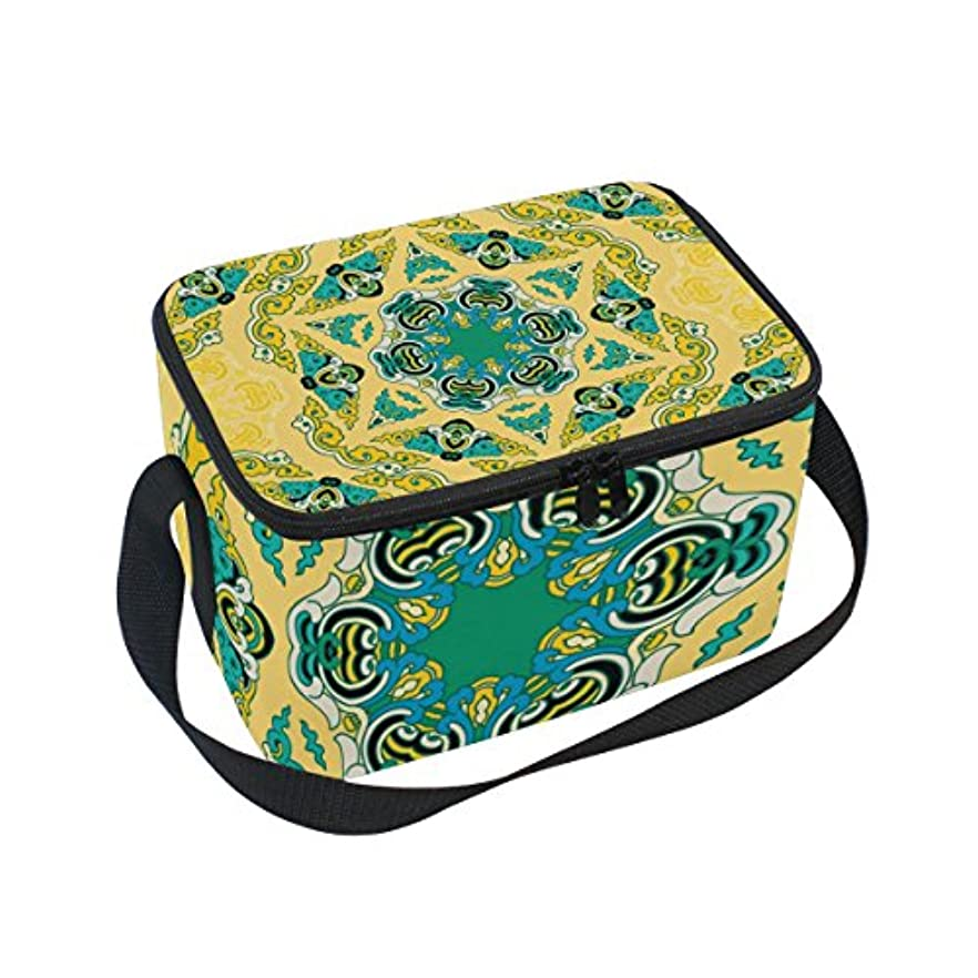 塩辛いラグ一次クーラーバッグ クーラーボックス ソフトクーラ 冷蔵ボックス キャンプ用品 復古 民族風 黄色 保冷保温 大容量 肩掛け お花見 アウトドア