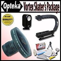 Opteka Deluxe Vortex Skaters Package (Includes the Opteka Platinum Series0.2X HD Panoramic Vortex Fisheye Lens X-GRIP Camcorder Handle 3 Watt Video Light) For Panasonic VDR-M53 VDR-M55 and VDR-M95 Digital Camcorders