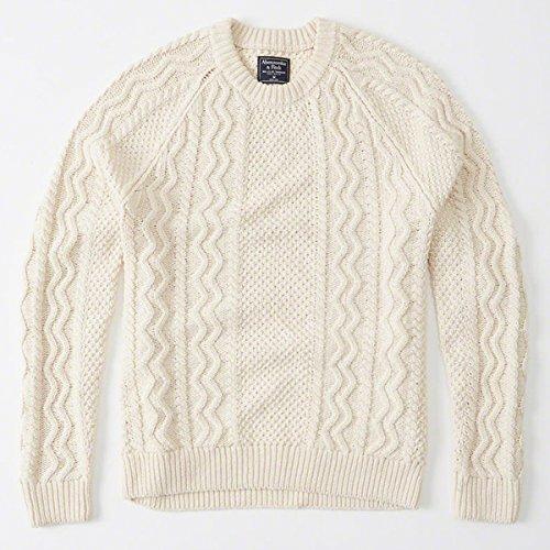 Abercrombie & Fitchアバクロンビーアンドフィッチ メンズ ケーブルニットセーター Mens Cable Crew Sweater 120-201-1119-102 (XL)