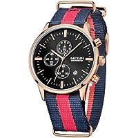 Megir Mens Classic Quartz Analog Chronograph Sports Casual Dress Nylon Wrist Watch with Date