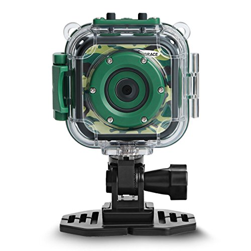 DROGRACE キッズカメラ 水中アクションカメラ 防水機能付き 子供用デジタルカメラ 1.77インチ携帯型HDカメラ グリーン