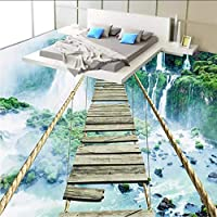 Wxmca カスタム3Dフロア壁画壁紙現代風景滝感動ロープブリッジ自己接着Pvcフロアステッカーバスルームの装飾-280X200Cm