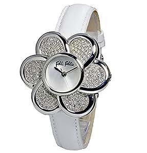 フォリフォリ FOLLI FOLLIE フラワーモチーフ クオーツ レディース 腕時計 WF5T009SPW-WH ホワイト [並行輸入品]