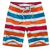 APTRO(アプトロ)メンズ水着 ショーツ サーフパンツ 海パン カジュアル ストライプ ゴムウェスト 大きいサイズ ゆったり #1508オレンジ 2XL