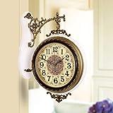 無垢材両面壁掛け時計、ミュートクリエイティブ壁掛け時計リビングルーム大型両面時計シンプルな時計台 ホームデコレーション時計 (Color : E)