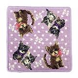 (アーンジョー)Enjeau 「リボン キャット(猫)」 日本製 ハンカチ タオル 23cm シェニール織 綿100% 犬猫 ギフト対応可