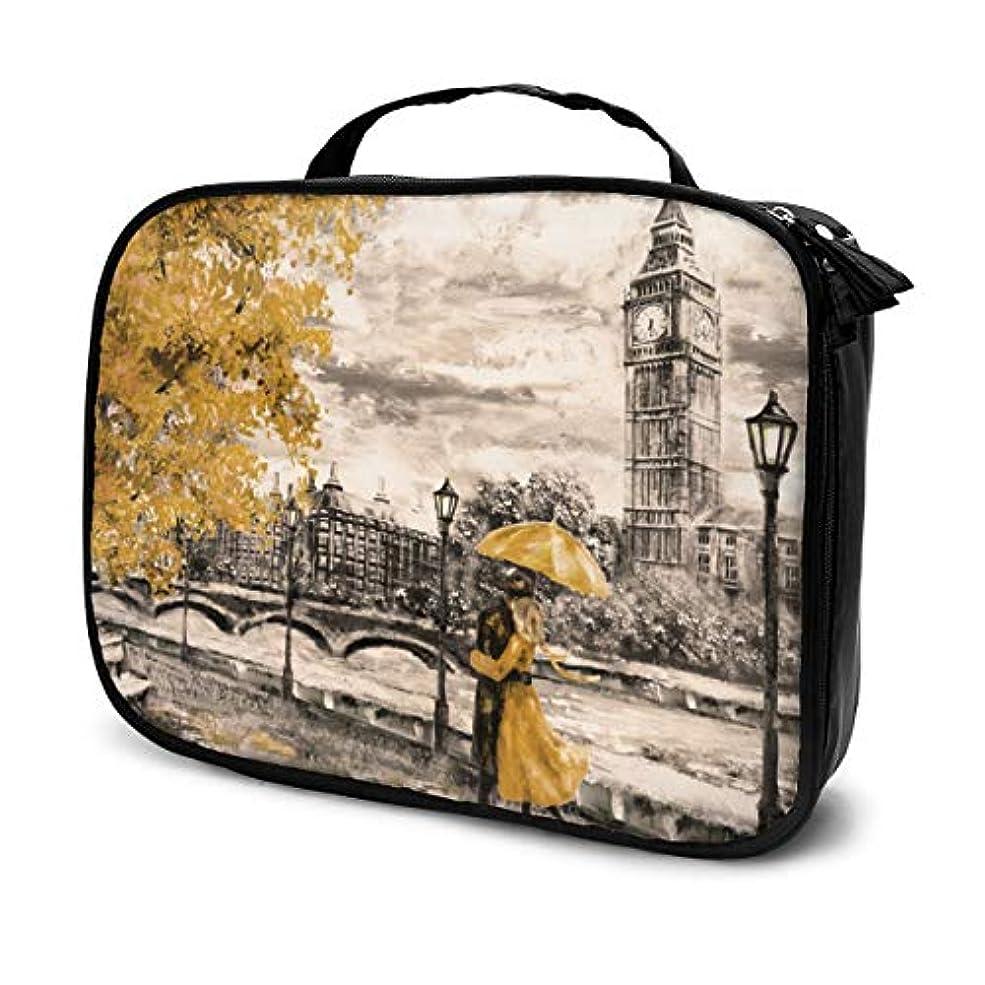 入射ワイドリビングルームロンドンのストリートビッグベンの男性と女性の黄色い傘の化粧バッグの下で女性のためのキュートでスタイリッシュな化粧品バッグ旅行用トイレタリーバッグオーガナイザー