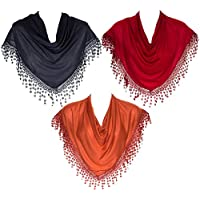 HatToSocks Triangle Scarf with Bobbin Lace Fringes for Women Pack of 3
