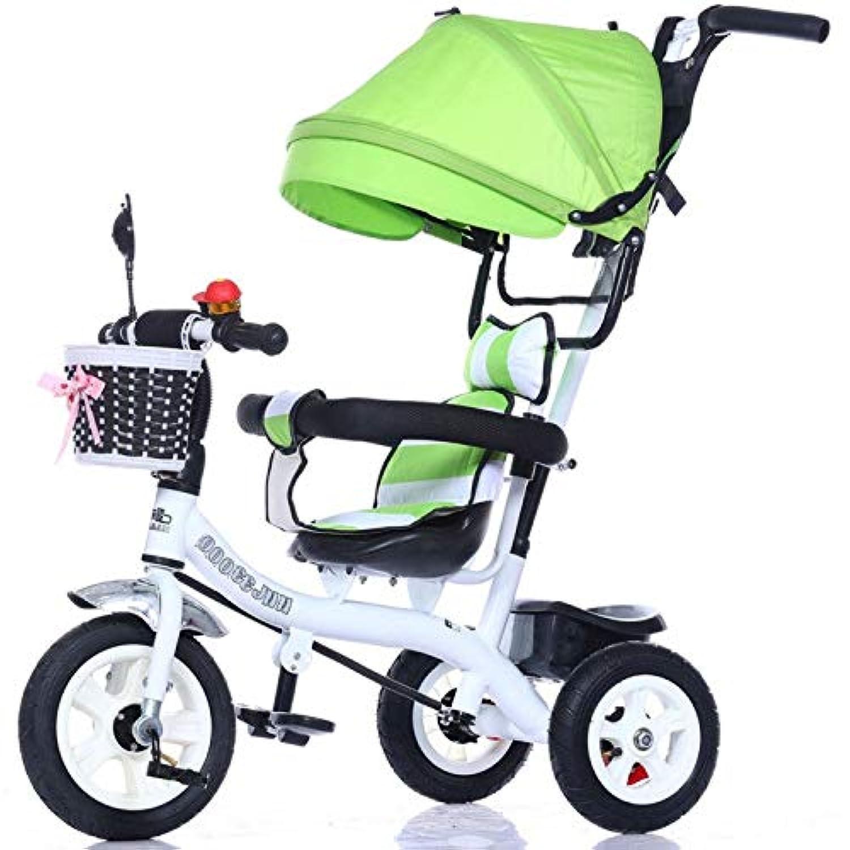 子供の三輪車 子供の三輪車のトロリー1-3-5歳のベビーカーのバイク日よけが付いているベビーカー 三輪車 おりたたみ 持ち運び (色 : D)