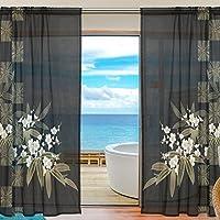 マキク(MAKIKU)遮熱 断熱 レースカーテン シェードカーテン ドアカーテン 花 和風 シンプル ブラック 薄手 遮光性カーテン 両開き 目隠し 外から見えにくい 洗える 個性 1組2枚入り 幅140cm×丈200cm