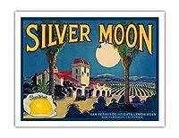"""レモン -""""シルバームーン""""ブランド - サンフェルナンド、カリフォルニア州 - ビンテージなフルーツの木箱のラベル c.1930s - アートポスター - 51cm x 66cm"""