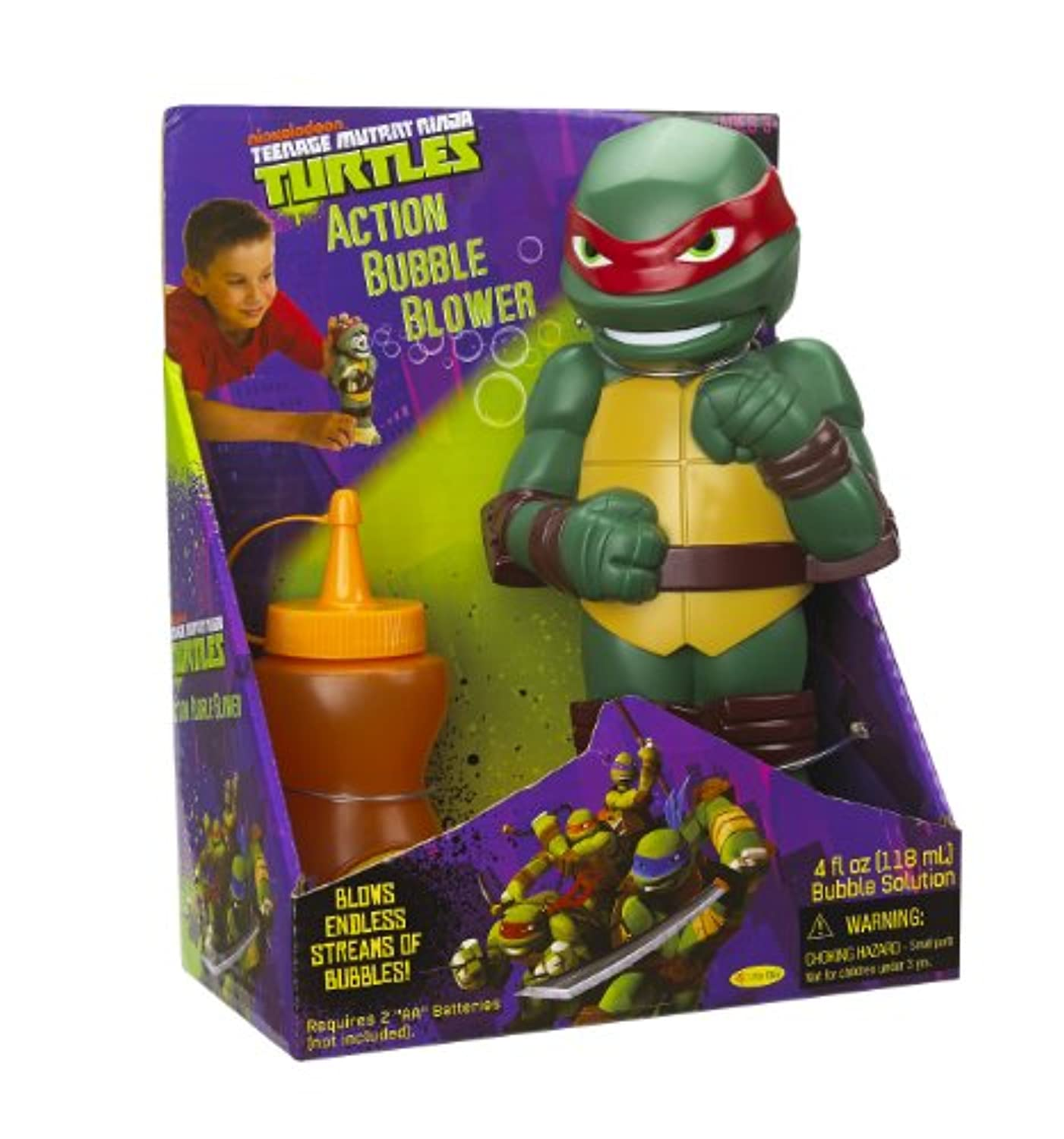 Little Kids Teenage Mutant Ninja Turtles Action Bubble Blower, Raphael by Teenage Mutant Ninja Turtles