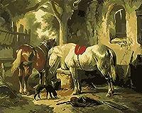 数字によるDiy油絵、数字キットによるペイント - 2頭の馬と子犬16 * 20インチリネンキャンバス - 大人のためのデジタル油絵の壁アートアートワーク上級子供高齢者ジュニア