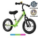 Gonex 12インチ 幼児用バランスバイク ペダルなし キッズ自転車 プッシュバイク ハイテンスチールフレーム&インフレータブルゴムタイヤ付き 2 3 4 5歳の男の子 女の子 グリーン
