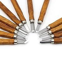 12 PCS木彫りツール炭素鋼彫刻ナイフキット木工用彫刻刀収納ケース付きの子供と初心者のための彫刻用