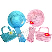 Girls Tea Party Dress Up Play Set For 2 with Sun Hats Purses Gloves and Pearl Necklaces Stella by Cutie Collections