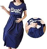 ミウォルナ マタニティ 授乳服 ワンピース ロング 半袖 プリント ネイビー XL