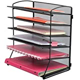 Easepres 6-Tier Mesh Desktop File Organiser Document Letter Tray Holder for Office or Home, Black