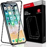 RANVOO iPhone XS/iPhone X 強化ガラスフィルム 日本製素材旭硝子製 5.5D全面保護 業界初の設計 外側PETで割れにくい 耐衝撃性能2倍 最強硬度9H ガイド枠付き 透過率99.9%