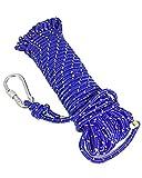 クライミング ザイル ガイ ロープ カラビナ フック 付 レッド ブルー 選べるカラー 20m 30m 各種 登山 キャンプ (ブルー 径8mm長さ20M)