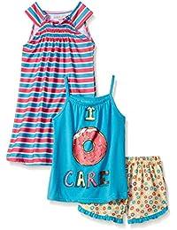 Komar Kids Girls ' 3 Piece Sleepwear SetドーナツShort Set withストライプガウン