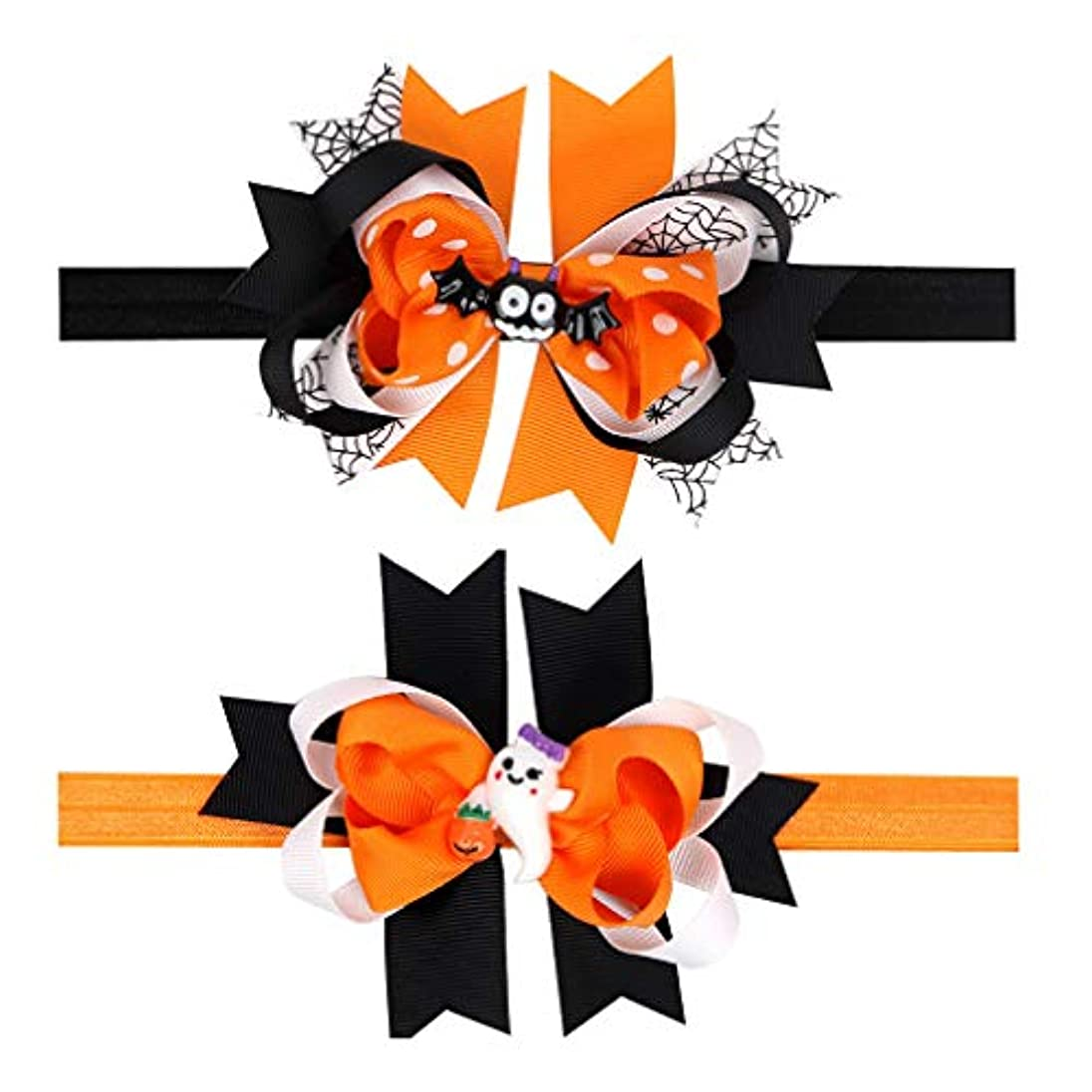 四半期高速道路枯れる(コ-ランド) Co-land ベビー ヘアバンド ハロウィン ヘアリボン 頭飾り 2点セット カチューシャ ベビーアクセサリ 赤ちゃん 出産祝い 撮影記念