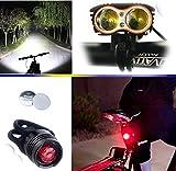 自転車ライト, Yafire 超高輝度自転車 LEDライト2X XML U2 LED (Max.5000ルーメン 4モード) 18650 3.7V 充電式リチウムイオン電池 & 自転車 LED テールライト サイクルライト リア用 防水 野外 / キャンプ / 登山 専用バッテリー付き