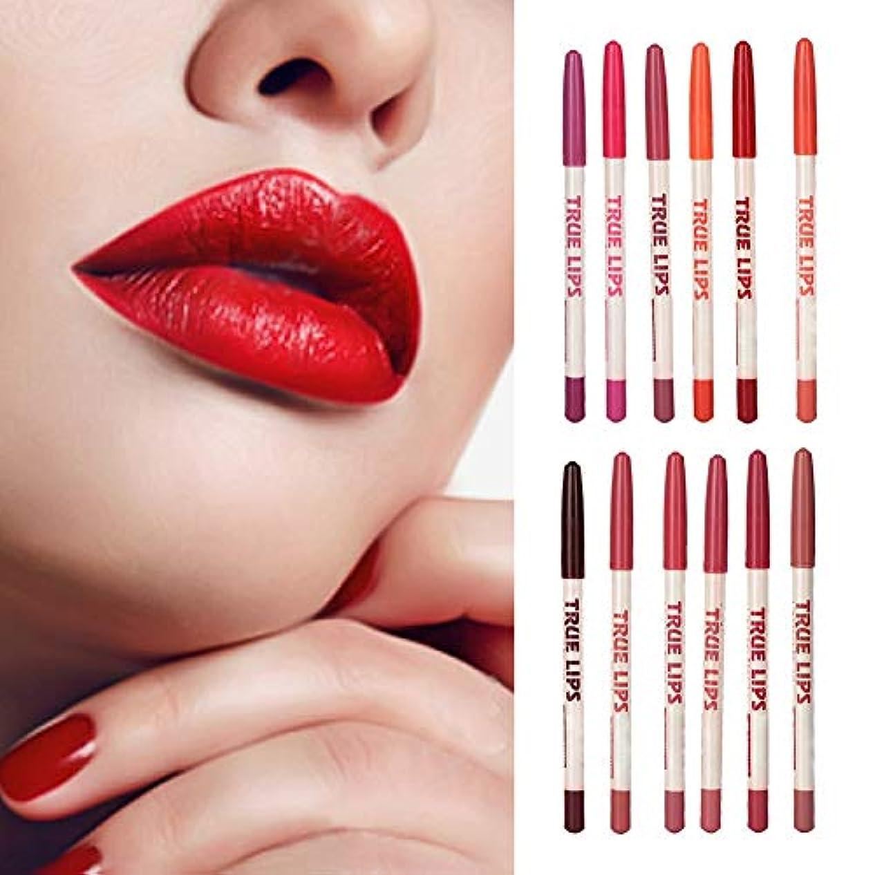 変位因子ヒューマニスティック12色/セット 防水 リップ ライナーペン シル口紅ペン 長持ち 家庭用 工具