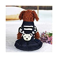 犬子犬ドレス猫ストラップデニムスカートペット犬服アパレル YANW (Color : Black, Size : XL)