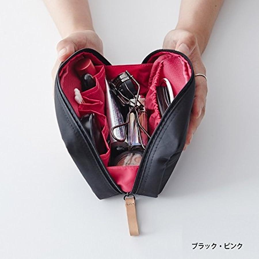 五十邪魔ファセットithinkso DAY MAKE-UP POUCH スクエアデザインにたっぷり収納 (ブラック?ピンク)