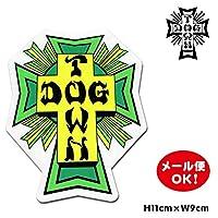 ドッグタウン スケートボード クロス ロゴ ステッカー 4インチ【Dogtown Skateboards Cross Logo Die Cut sticker 4inch (Green)】