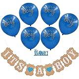 男の子用Hokic ベビーシャワーデコレーション It's A Boy ベビーシャワーデコレーションキット It's A Boy バナー + It's A Boy バルーン + Boy ケーキトッパー 子供 誕生日 ベビーシャワー パーティー用品 (16ピース&ブルー)