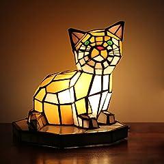 ティファニースタイルのヨーロッパの創造的な猫のテーブルランプ子供のランプの夜のライト