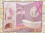 HERMES スカーフ ピンク Teen Girls装飾フリーススローブランケットFancy Bathroom in the Palace of the Princess with BathtubキャビネットミラーThrowピンクベージュ 59W x 49.2L Inches MTH6225668K150XG125