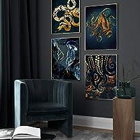 ヘビタコクラゲイカ北欧ポスタープリント壁アートキャンバス絵画画像用リビングルームの装飾-30×40センチ×4ピースフレームなし