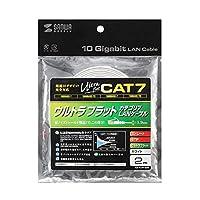 10GBASE完全対応。 サンワサプライ CAT7ウルトラフラットLANケーブル(2m、ホワイト) KB-FLU7-02W 〈簡易梱包