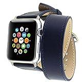Apple Watch バンド, Wearlizer ドゥブルトゥール アップルウォッチ用時計バンド 交換ベルト ラグ付 本革 保護フィルム付(38mm, ネイビー)
