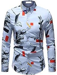 Keaac メンズベーシックボタンカジュアル長袖シャツ?ビジネス?スリムフィットシャツプリントブラウス?トップ